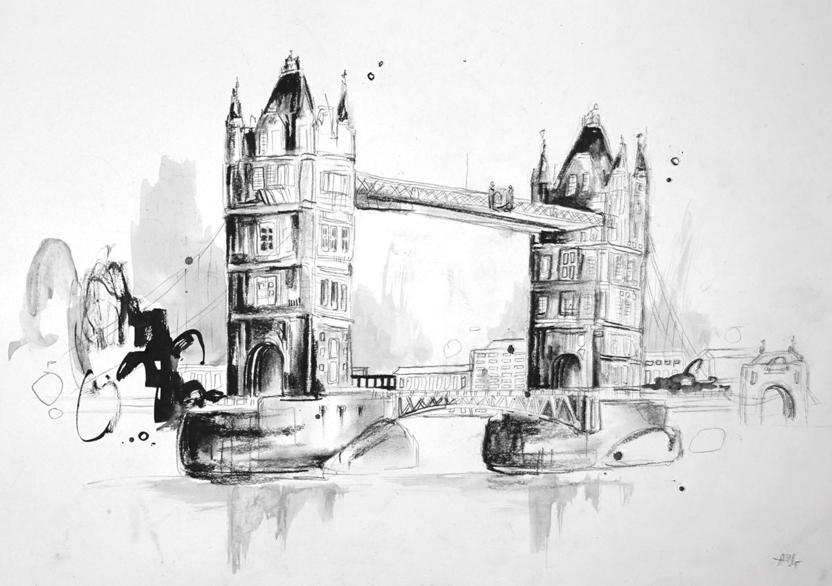 Tower Bridge Sketch III by Anna Gammans -  sized 16x12 inches. Available from Whitewall Galleries